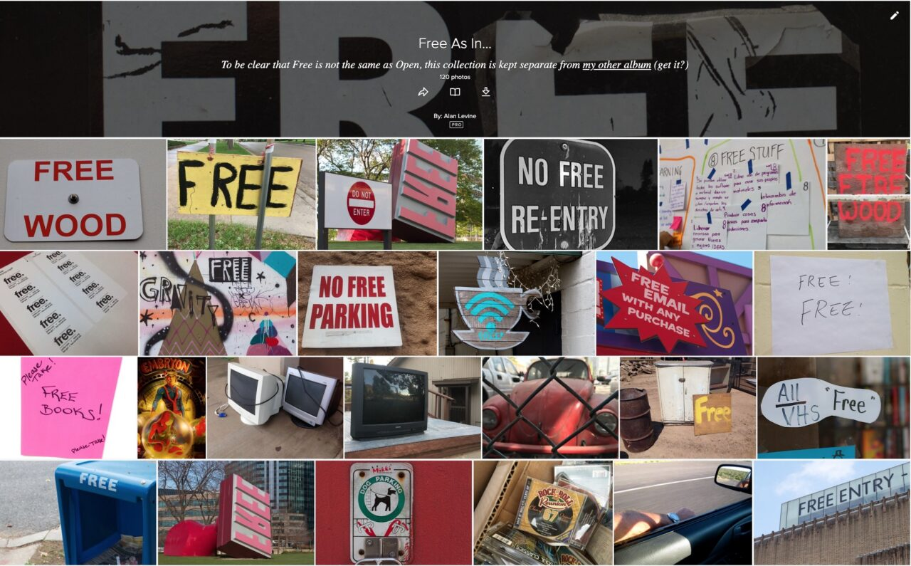 "A second flickr album with image icons of signs like ""free wood""' ""All VHS Free"", ""Free books"""
