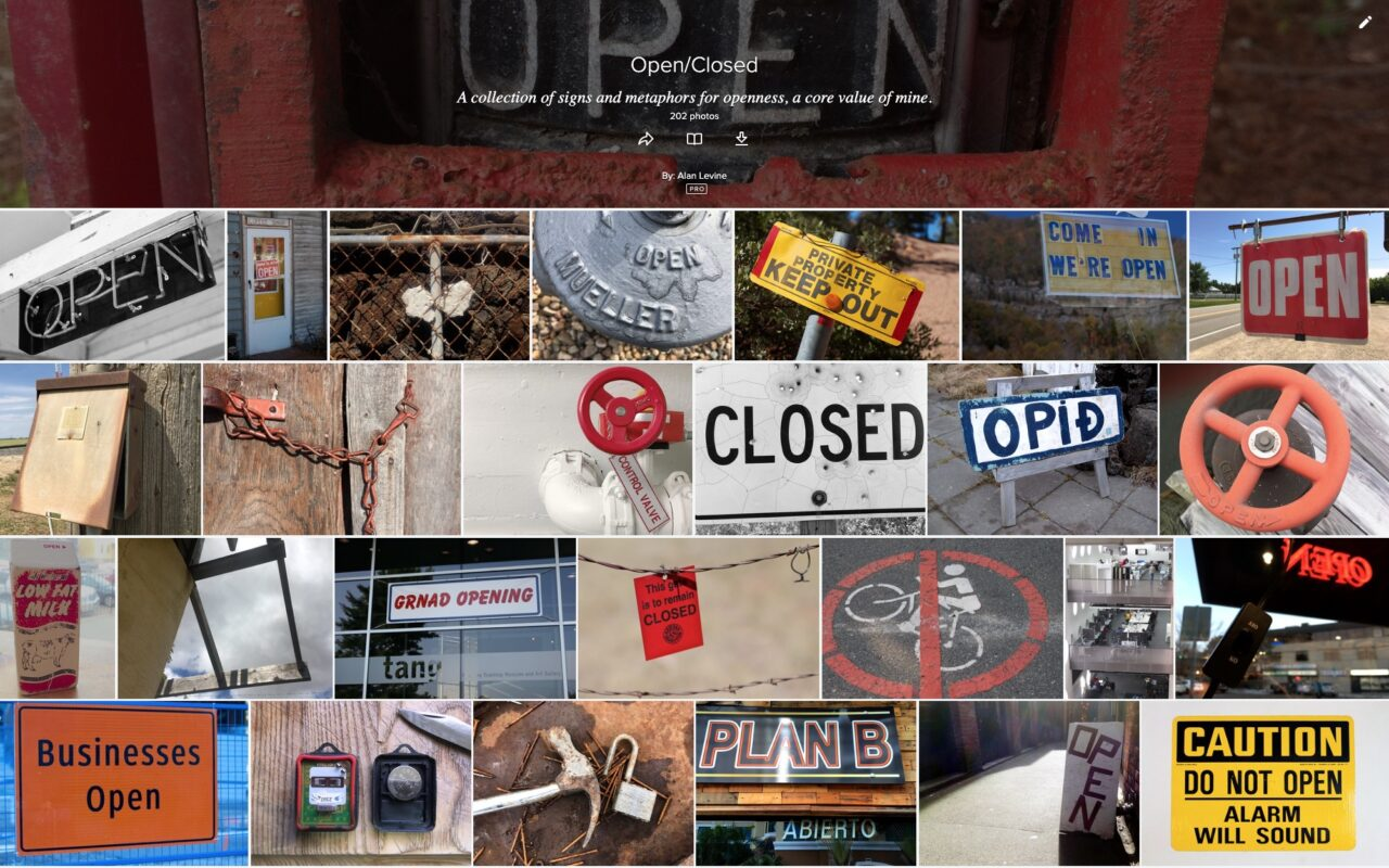 "Screenshot of the flickr album with a grid of photos of signs saying ""open"", ""closed"" padlocks, missing roofs, etc."