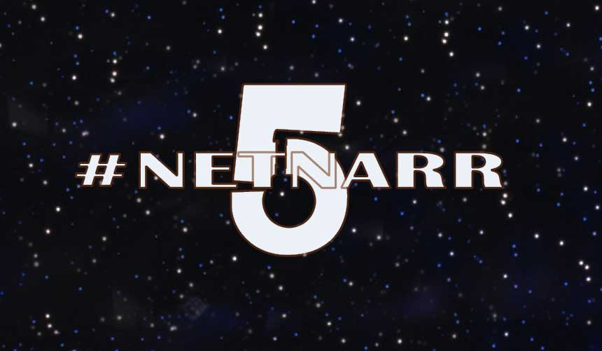 Netnarr 5 displayed in the style of Babylon 5 title screen, and atop a field of stars.