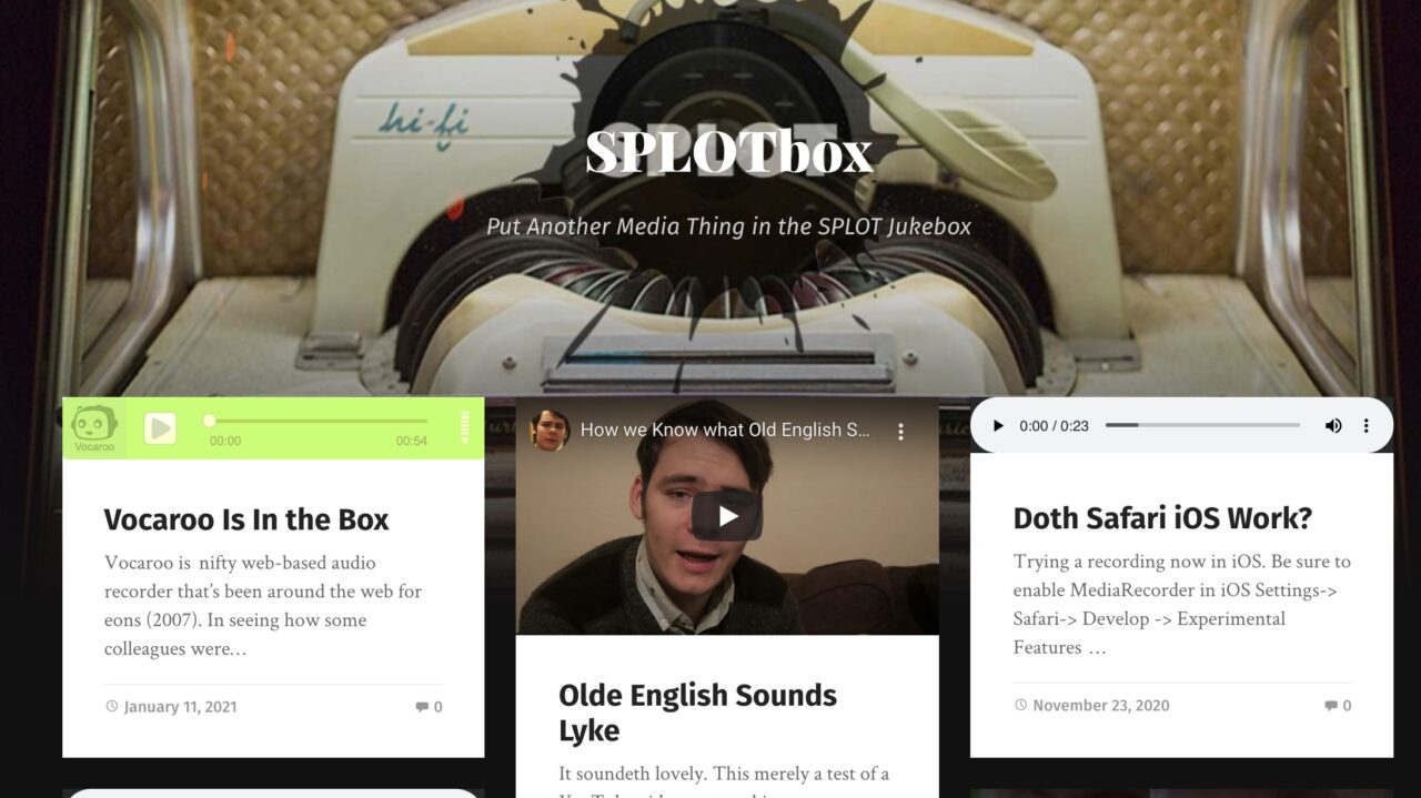 """The front page of SPLOTbox with the first entry an embedded Vocaroo audio player for new item """"Vocaroo is in the Box"""""""